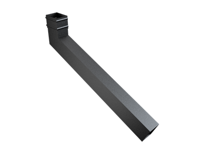 101x76mm Rect (Sq Edge) Cast Collar Extended Bend 501-750mm