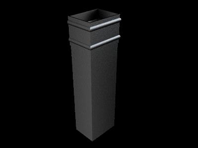 101x76mm Rect (Sq Edge) Cast Plain Collar Downpipe 3.00m