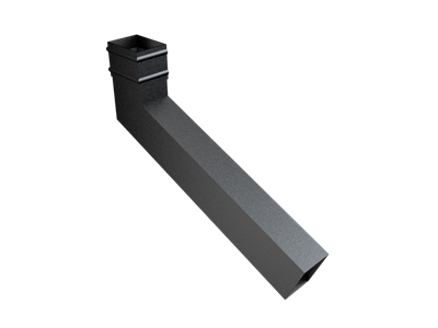101x76mm Rect (Sq Edge) Cast Collar Extended Bend 251-500mm