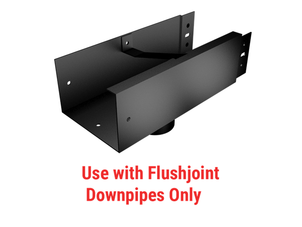 100x75mm Joggle Joint Box Gutter 57mm Dia Flush Joint Outlet